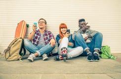 Multiracial group outdoors stock photos