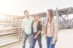Multiracial group walking and having fun in Hamburg stock photos