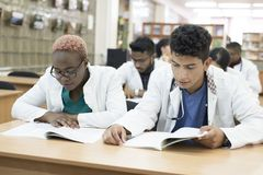 Multiracial group of young medical students. We sit at the desk, pass the exam, study textbooks