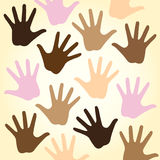 Multiracial hands. Vector illustration of colorful multi-racial diverse hands on light sand background symbolizing human racial unity, help, support, freedom Stock Images