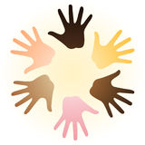 Multiracial hands. Vector illustration of colorful multi-racial diverse hands on light sand circle background symbolizing human racial unity, help, support Royalty Free Stock Images
