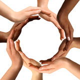 Multiracial Hands Making a Circle. Conceptual symbol of multiracial human hands making a circle on white background with a copy space in the middle stock image