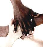 Multiracial hands together Stock Photos