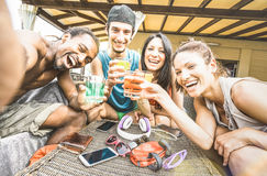 Multiracial happy friends group taking summer selfie and having Stock Photo