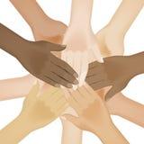 Multiracial human hands vector illustration