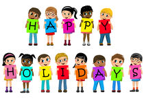 Multiracial kids children cardboard spell out happy holidays text isolated vector illustration