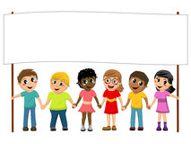 Multiracial kids children hand in hand blank banner isolated Stock Image