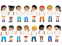 Multiracial kids children standing holding blank cardboard isolated Stock Photography