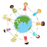 Multiracial kids holding hands. Multiracial happy kids holding their hands around the globe illustration stock illustration