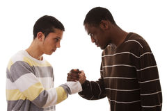 multiracial konfrontation royaltyfria bilder