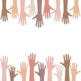 Multiracial ludzie ręki tła ilustracji