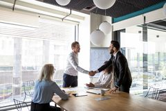 Multiracial male business partners handshake greeting at meeting