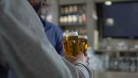 Multiracial male friends clinking beer glasses at bar counter in pub, relax stock video