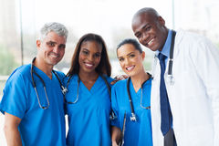 Multiracial medical team. Group of happy multiracial medical team in hospital Royalty Free Stock Image