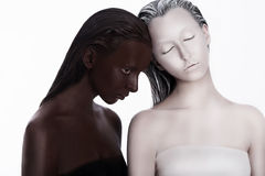 Multiracial Multicultural Concept. Ethnicity. Women Colored Brown and White. Devotion Stock Photos
