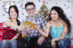 Multiracial people toast with champagne Royalty Free Stock Photo