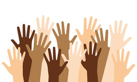Multiracial Raised Hands. Isolated on white background. Eps file available Royalty Free Stock Photography