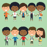Multiracial school boys and girls standing and holding hands. Vector set of multicultural happy classmates. Collection of cute kids characters Royalty Free Stock Photography