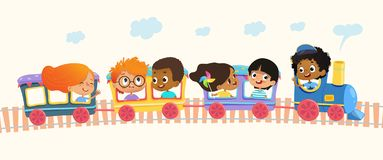 Free Multiracial School Kids Boys And Girls Laughing And Traveling By Colorful Train On A Green Hills. Vector. Isolated. Can Stock Images - 127151954