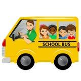 Multiracial school kids riding a schoolbus Stock Image