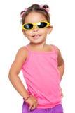 Multiracial small girl  wearing yellow sunglasse Royalty Free Stock Photo