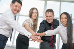 Multiracial successful business people with thumbs up gesture Royalty Free Stock Image