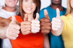 Multiracial thumbs up Stock Image