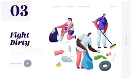 Multiracial Volunteers Characters Picking Up Litter, Planet Cleanup. People Collecting Trash into Bags, Environmental Pollution. Website Landing Page, Web Page stock illustration