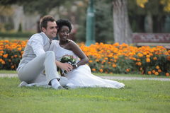 Multiracial wedding couple Royalty Free Stock Image