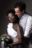 Multiracial wedding couple Stock Photo