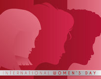 Multiracial Women Silhouettes in Women's Day Design, Vector Illustration. Women Faces silhouettes  in pink and red palette with a ribbon with Women's Day Royalty Free Stock Photo