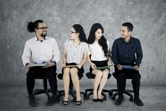 Multiracial workers chatting in job interview Stock Photography