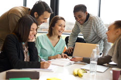 Multiracial young people enjoying group study Stock Images