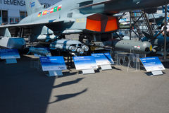 Multirole fighter Eurofighter Typhoon and samples of armament. Stock Photo
