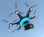 Multirotor  helicopter mounted with a DSLR camera Royalty Free Stock Photo