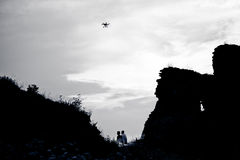 Multirotor helicopter in the sky photographed Stock Photography