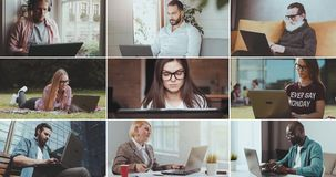 Multiscreen在膝上型计算机的人工作 股票视频