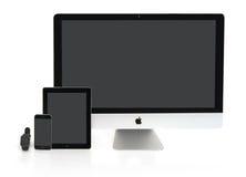 Multiscreen - Apple-Horloge, iPhone, iPad en iMac Stock Afbeelding
