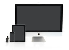 Multiscreen - Apple Watch, iPhone, iPad and iMac Stock Image