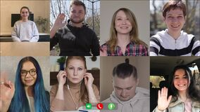 Multiscreen of eight colleagues greeting each other in video chat. Caucasian men and women waving and saying hello