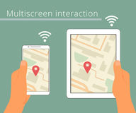 Multiscreen interaction. Synchronization of Royalty Free Stock Image