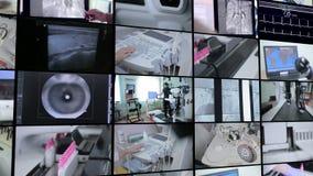 Multiscreen-Montage Labor, medizinische moderne Ausrüstungsfunktion MEDIZINISCHES Konzept stock video footage