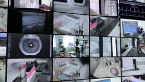 Multiscreen montage. Laboratory, medical modern equipment working. Medical concept.