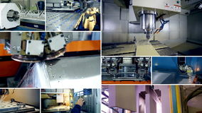 Multiscreen montage. Modern industrial factory machines working.