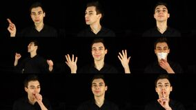 Multiscreen. Portraits of one handsome man, who is showing different emotions