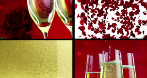 Multiscreen scene with pouring, drink and close-up champagne in the flutes with bubbles with red petals roses flying stock video