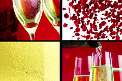 Multiscreen scene with pouring, drink and close-up champagne in the flutes with bubbles with red petals roses flying on red bokeh Stock Photos