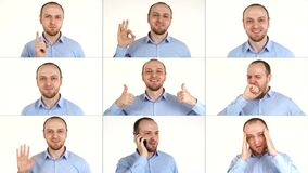 Multiscreen on showing different emotion one caucasian man on white background.