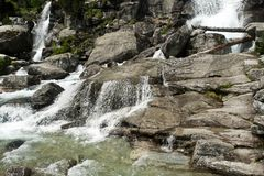Multistage cascade waterfalls of Cold Creek Royalty Free Stock Photos