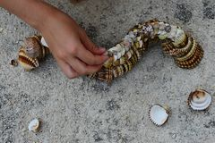 Multistage decorative caterpillar made of bivalve clam seashells on concrete beach molo, small girl hand adding final shells on to. Multistage decorative Stock Images